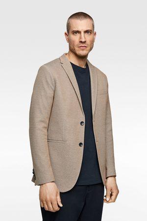 Zara Zweifarbiger blazer mit strukturmuster