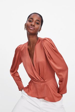 Zara Satin wrap blouse