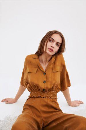 Zara Fliessendes cropped-hemd