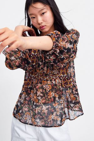 Zara Geblümte bluse mit stickerei