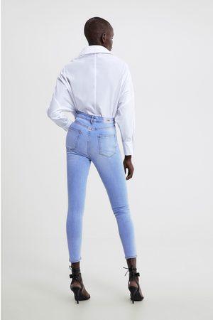 Zara Damen Skinny - Skinny-jeans z1975 mit hohem bund und schmuckperlen