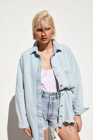 Zara Jeans-überhemd mit tasche