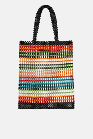 Zara Damen Shopper - Shopper mit farbiger kugelstruktur