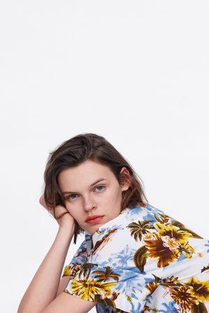 Zara Floral print shirt with knot
