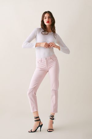 Zara Jeans zw premium slim boyfriend soft pink