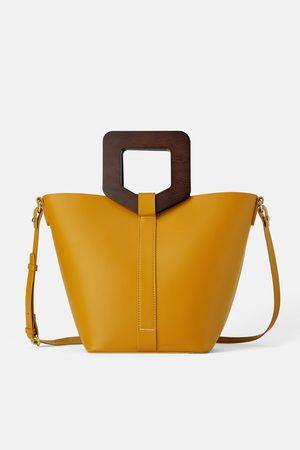 Zara Fester shopper mit holzhenkel