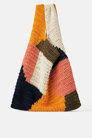 Zara Mehrfarbiger shopper aus baumwolle