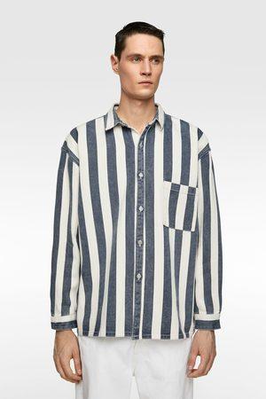 Zara Jeans-überhemd mit streifen