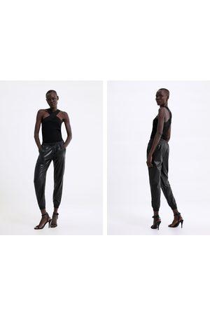 Zara Damen Jogginghosen - Jogginghose zw premium aus kunstleder
