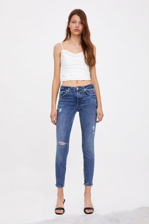 Zara Damen High Waisted - Mid-rise-jeans im skinny-compact-fit mit rissen