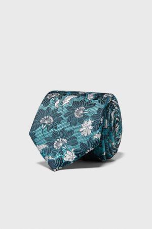 Zara Breite jacquard-krawatte mit blumenmuster