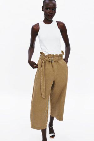 Zara Damen Weite Hosen - Weite leinenhose mit gürtel