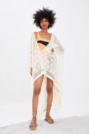 Zara Damen Kimonos - Kimono mit strukturmuster und fransen