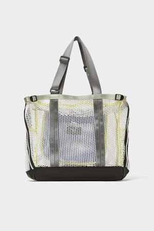Zara Herren Shopper - Weisse tasche aus gitterstoff