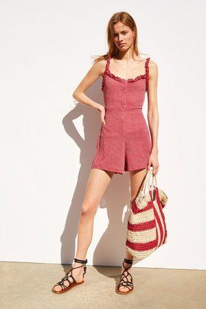 Zara Damen Jumpsuits - Overall mit vichykaros