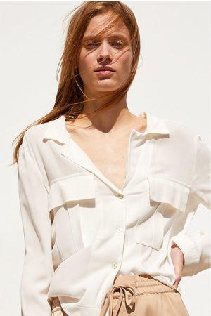 Zara Damen Blusen - Hemd mit taschen