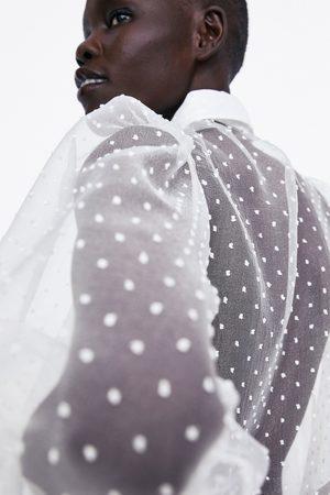 Zara Leicht transparente bluse mit plumetis