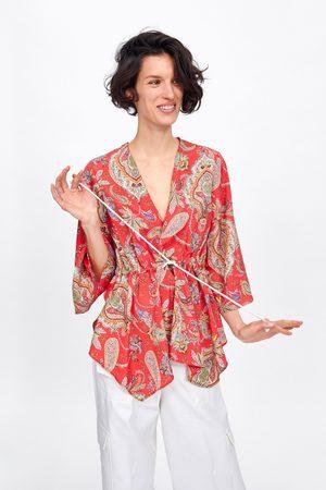 Zara Bedruckte bluse mit kordel