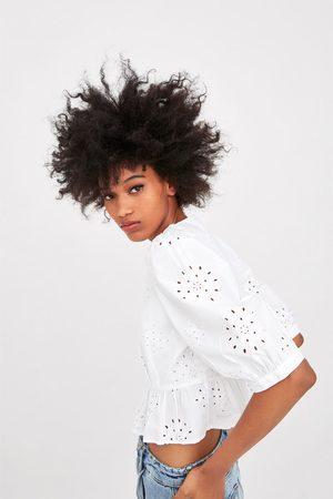 Zara Damen Blusen - Hemd mit lochstickerei