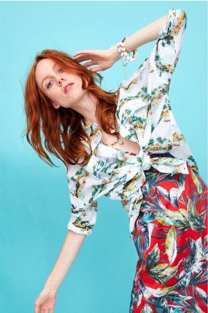 Zara Damen Blusen - Hemd mit palmenprint