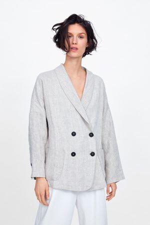 Zara Double-breasted linen blazer