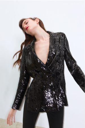 Zara Doppelreihiger blazer mit pailletten