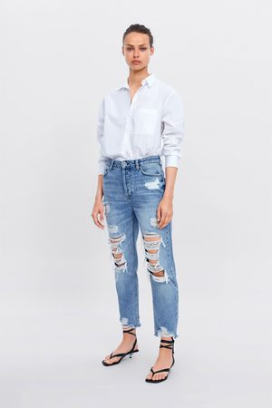 Zara Damen Straight - Jeans z1975 hoher bund straight risse