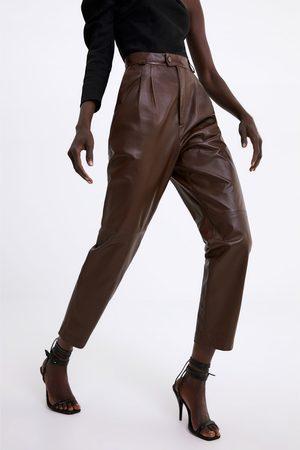 Zara Lederhose mit bundfalten