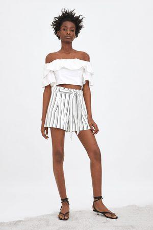 Zara Paperbag-bermudashorts mit gürtel