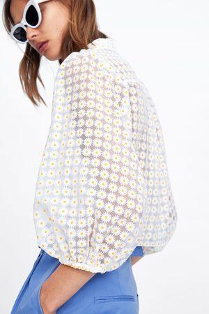 Zara Damen Blusen - Organza-bluse mit blumen
