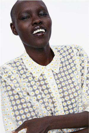 Zara Organza-bluse mit blumen