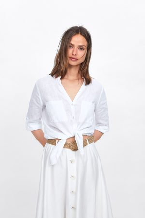Zara Damen Blusen - Leinenhemd mit taschen