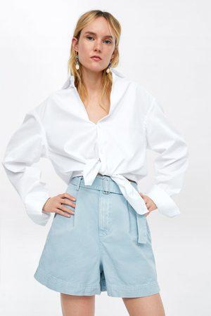 Zara Mom-fit-bermudashorts mit gürtel