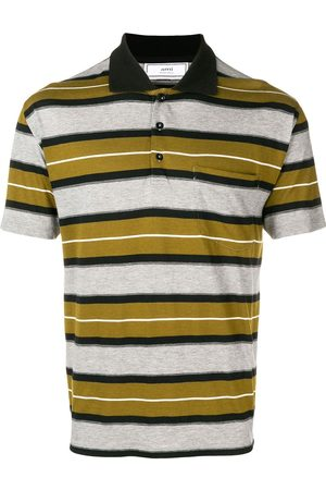 Ami Short Sleeve Striped Polo Shirt With Ami Label