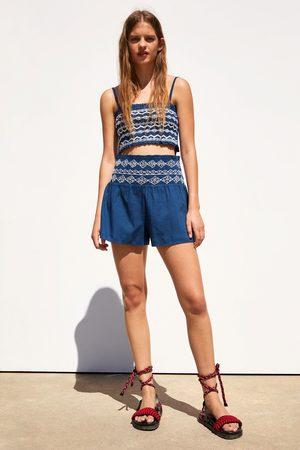 Zara Bermudashorts mit gesmoktem bund und stickerei