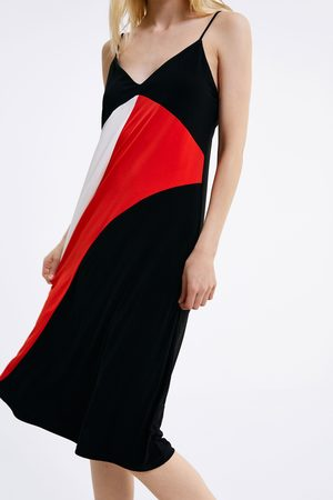 Zara Damen Bedruckte Kleider - Printed strappy dress