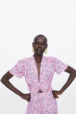 Zara Bluse mit print und raffung