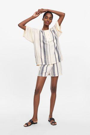 Zara Striped rustic shorts