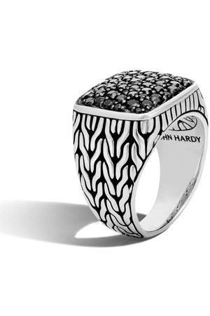 John Hardy Silver and Sapphire Classic Chain Signet Ring