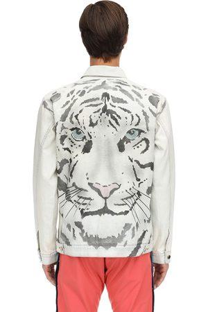 JUST DON Jacke Aus Baumwolldenim Mit Tigerdruck