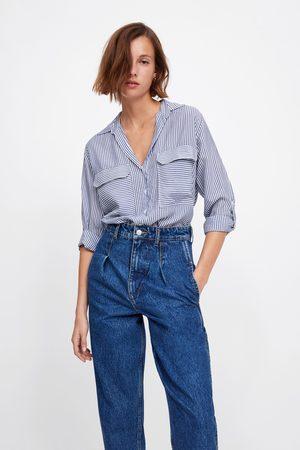 Zara Gestreifte bluse mit brusttaschen