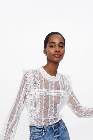 Zara Leicht transparente guipure-bluse