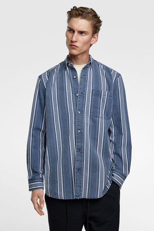 Zara Gestreiftes jeanshemd