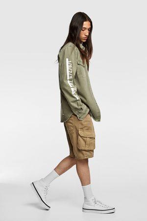 Zara Jeans-überhemd mit schriftzug