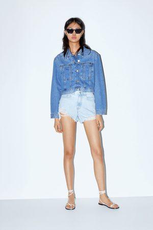Zara High waist ripped shorts