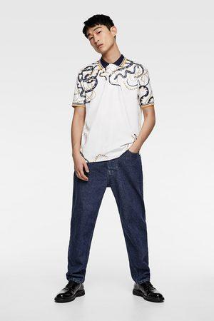 Zara Herren Poloshirts - Poloshirt mit kettenmuster