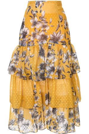 Bambah Damen Bedruckte Röcke - Floral ruffle skirt