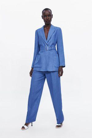 Zara Damen Stoffhosen - Leinenhose mit bundfalten