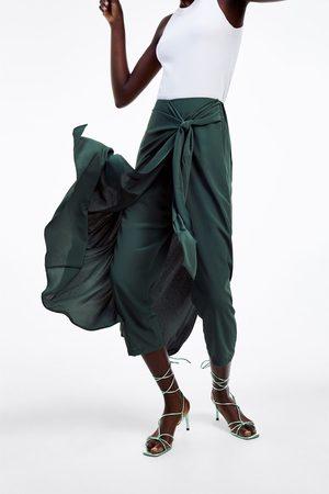 Zara Damen Weite Hosen - Hosenrock mit zierknoten