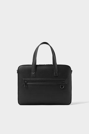 Zara Herren Basic black slim briefcase
